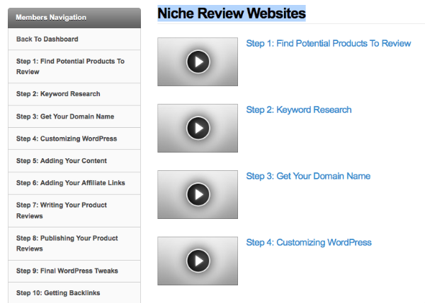 Niche Review Website Blueprint members area
