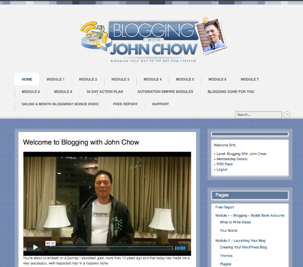 Review of Blogging with John Chow part 1