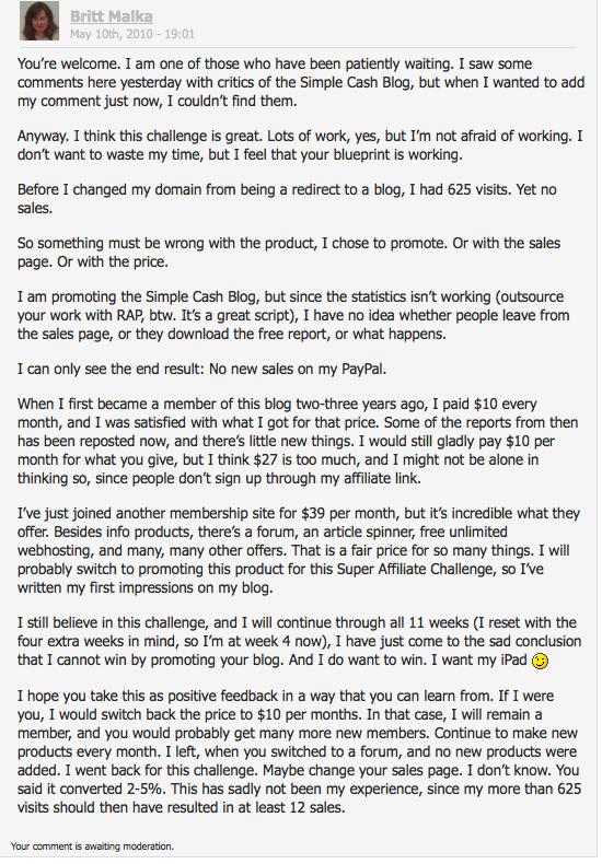 kommentar på Simple Cash Blog - under moderation